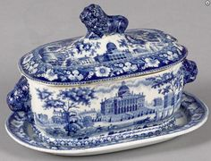 Pook & Pook 4/29/17. Lot 245. Estimated: $200 - $400. Realized: $1,063.  Description: Historical blue Staffordshire Boston State House sauce tureen and undertray, 5 1/4'' h., 8'' w.  Condition: Repaired chips to lid. Small interior hairline to tureen. Provenance: The Historical Blue Collection of Kenton Broyles.