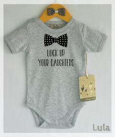 3de420b6fe90 Funny baby boy clothes. Lock up your daughters baby romper. Baby boy cute  clothes