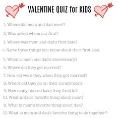 See how much your kids know about your love life! Such a fun way to celebrate Valentine's Day as a family!