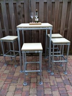 Galvanized Pipe, T Home, Scaffolding, Outdoor Furniture Sets, Outdoor Decor, Bar Stools, Backyard, Diy Crafts, Table