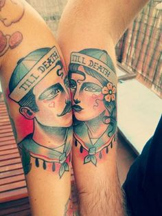 We got new tattoos. a piece of romance and good old school:) Made by Toni Donaire from Blue Cat Studio, Barcelona.