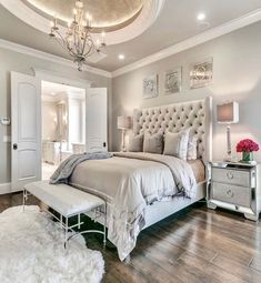 Home Bedroom, Bedroom Decor Glam, Bedroom Design, Dream Bedroom Glam Bedroom, Home Decor Bedroom, Modern Bedroom, Contemporary Bedroom, Trendy Bedroom, Modern Contemporary, Bedroom Neutral, Classy Bedroom Ideas, Bedroom Wardrobe