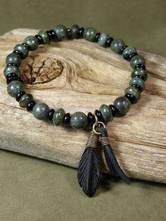 Bracelet for Men Mens Beaded Bracelet Green by StoneWearDesigns