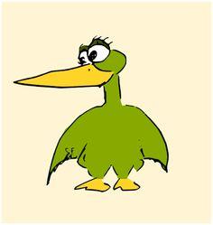 free funny green bird printable