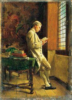 """« Savoir lire, c'est allumer une lampe dans l'esprit, relâcher l'âme de sa prison, ouvrir une porte sur l'univers. » Pearl Buck """" Le liseur blanc » (1857- Musée d'Orsay) par Ernest Meissonier."""