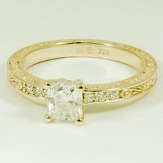 18K Yellow Gold Delicate Antique Scroll Ring - Set with a 0.62 Carat, Cushion, Very Good Cut, F Color, SI1 Clarity Diamond #BrilliantEarth