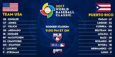 RT Todays action starts with a matchup between. Baseball Tournament, Puerto Rico, World Baseball Classic, Lugano, Team Usa, First World, Major League, Action