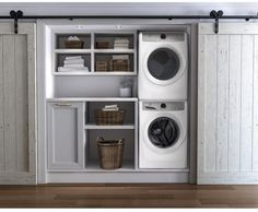 laundry ideas Electrolux Stacked Washer & Dryer Set with Front Load Washer and Gas Drye Small Laundry Rooms, Closet Storage, Washer Dryer Laundry Room, Laundry Closet, Laundry Dryer, Laundry