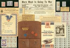 WWII era background and individual elements for a 1940s/military page ~ WWII rationing site, Ames, Iowa Historical Society.