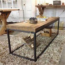 No entanto, Casa dotado de mesa lateral mesa de café de madeira de móveis de ferro americano do vintage sala de café tab(China (Mainland))
