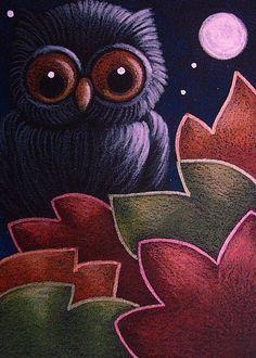 BLACK OWL...AUTUMN LEAVES
