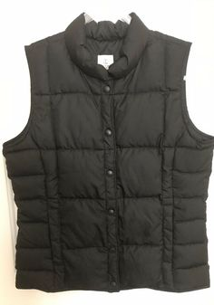 51febaab2dee7 Details about Lands End Kids Goose Down Puffer Quilted Winter Vest  BlackGirls Boys Size 16