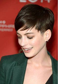 Anne Hathaway pixie for fine hair