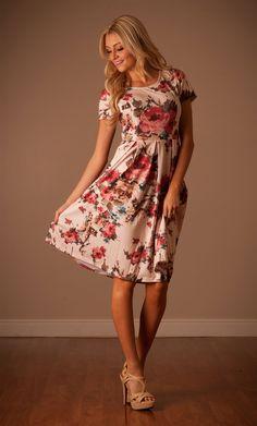 Ivy Pink Cream Floral Dress by Mikarose | Trendy Modest Dresses | Mikarose Spring 2014 Collection