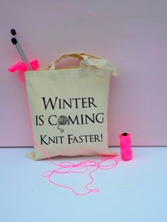Winter is coming Knitting Bag yarn bag by KellyConnorDesigns, £13.75