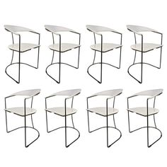 Set of Eight Italian White Leather Chairs with Gunmetal Frames by Arrben, 1980s 1