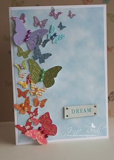 Great spring card...Stampin' Up! Beautiful Wings embosslits...butterflies made with scrap paper; great way to use up those scraps!