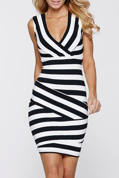 Black and White Stripes Plunging Neck Sleeveless Bodycon Dress #Black #White #Stripes #Bandage #Dress #Fashion