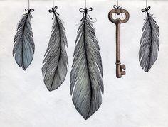 feather, feather, feather, key, feather.
