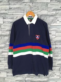 749148e02 Vintage 90's TOMMY HILFIGER Polo Shirts Men Large Hip Hop Tommy Hilfiger  Colorblock Style 80's Tommy Jeans Polo Rugby Striped Shirt Size L