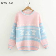 Cheap sweater style, Buy Quality christmas sweater directly from China autumn winter Suppliers: KYQIAO Christmas sweater 2018 mori girls autumn winter Japanese style cute cartoon long sleeve pink blue patchwork knitwear