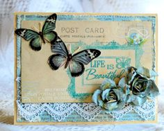 All the items are created using Pion paper from the C'eat Magnifique March kit - even the flowers. I added a stamped title Scrapbook Paper Flowers, Paper Crafts, Diy Crafts, Butterfly Cards, Creative Cards, Life Is Beautiful, Birthday Cards, Decorative Boxes, Card Making