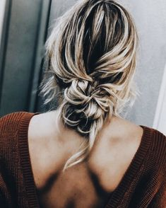 Sweater and messy bun...