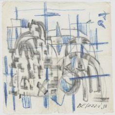 E. Besozzi pitt. 1958 Composizione pennarello e biro su tovagliolo cm. 12,9x12,4 arc. 578