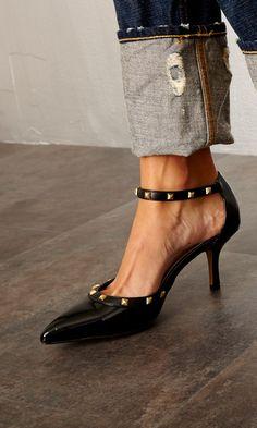 Studded Ankle Strap Pumps