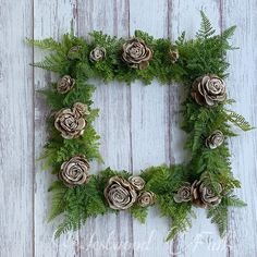 Square wreath metal hoop wreath with faux fern and wood flowers Square Wreath, Sola Wood Flowers, Ferns, Greenery, Hoop, Christmas Wreaths, Holiday Decor, Metal, Home Decor