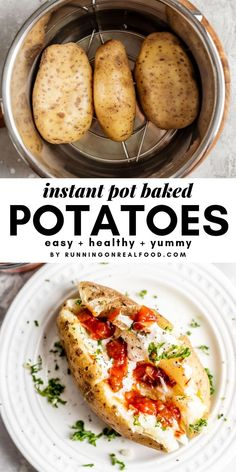 Make whole baked potatoes in an Instant Pot in under 40 minutes. This recipe is easy, hands-off and makes a healthy and filling plant-based meal when you add your favourite toppings like salsa, nutritional yeast and beans.