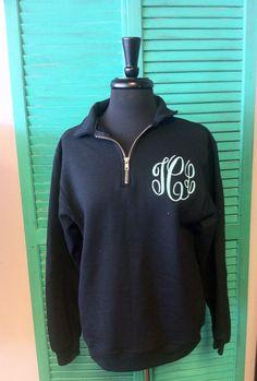 1/4 Zip Monogrammed Sweatshirt Quarter Zip Monogram Sweater Pullover