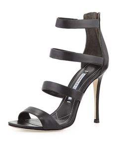 Olina Strappy Leather Sandal, Black by Charles David at Neiman Marcus Last Call.