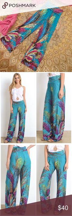 """*NWOT* Gilli Boho Palazzo Pants, Medium Funky teal print on these full length boho pants. A relaxed style with a banded high waist and wide legs (11"""" across leg bottom hem). Fabric content is 96% Polyester 4% Spandex.  Purchased just a month ago from a Posh boutique - never worn, but washed once. Inseam is 31.5"""", total length is 41.5"""", & elastic stretches comfortably up to a 30"""" waist. GILLI Pants Wide Leg"""