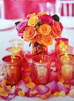 candles + bright flower centerpiece