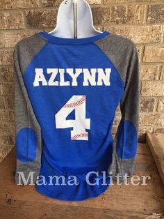 Baseball Laces T-Shirt, baseball mom shirt, Long Sleeve preppy Tee- Number and name on back