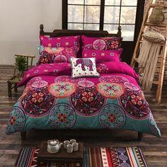 Bohemia Style Bedding Sets 3d Bedclothes Black Duvet Cover Sets King/queen Size Bed Linen Bed Sheet Sets Bed Set #BedSheets #BedLinenSets