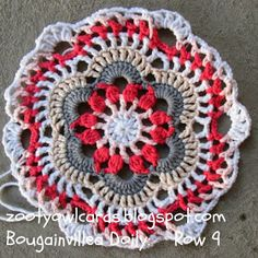 Bougainvillea free crochet doily pattern from Zooty Owl. thanks so xox Free Crochet Doily Patterns, Crochet Circles, Crochet Round, Crochet Squares, Love Crochet, Crochet Motif, Crochet Doilies, Crochet Flowers, Knit Crochet