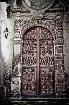 Mexican front doors using a graphic effect on photo