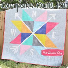 Compass Quilt Kit Featuring Bella Solids   Fat Quarter Shop