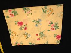 Vintage Pillow Case: Red and Blue and Pink flowers on a yellow background on Etsy, $4.00