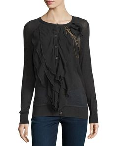 Multi-Layer Ruffle-Front Cardigan, Black - Haute Hippie