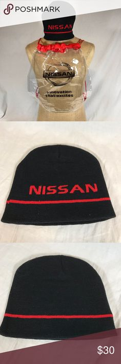 """Nissan Logo Knit Hat and Clear Plastic Backpack NEW Nissan Logo Knit Hat & Clear Plastic Backpack/Drawstring Bag Knit Beanie Hat: -Nissan - Black & Red design  -One size fits most   Backpack: -Clear plastic  -Drawstring  -""""Innovation that Excites"""" -Measures approx: 15.5"""" x 14""""   Each item is new, unused/unworn Nissan Accessories"""