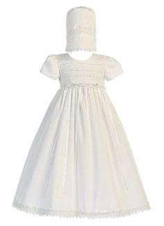 6dd1d9edf7263 Baby Girl White Cotton Smocked Gown Christening Baptism Hat Set L (12-18  Month