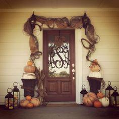 Fall front door decor. Yeah that's my door!:) AMS
