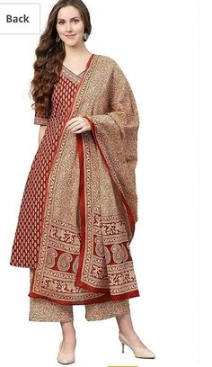 Indian Bollywood Designer Stylish Printed Marron Kurti And Palazzo With Dupatta Set Special For Women &Girls.Free Express Shipping In USA/UK