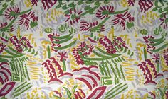Crysede curtain, reproduced by Cresta. Unknown pattern, has trees and possibly a person in the design. Pattern is brown, green, yellow and grey. - Collections - Penlee House Gallery and Museum Penzance Cornwall UK