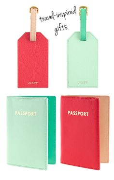 Travel Inspired Gifts! Passport Cases and Luggage Tags in Red or Mint. Cute!!