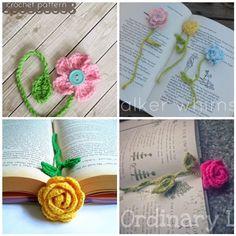 Crochet Flower Bookmarks - Free patterns