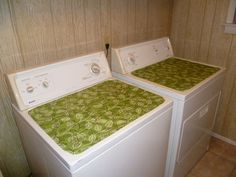 Decorative Magnetic Reversable Fabric Laundry Room Washer & Dryer Top Covers